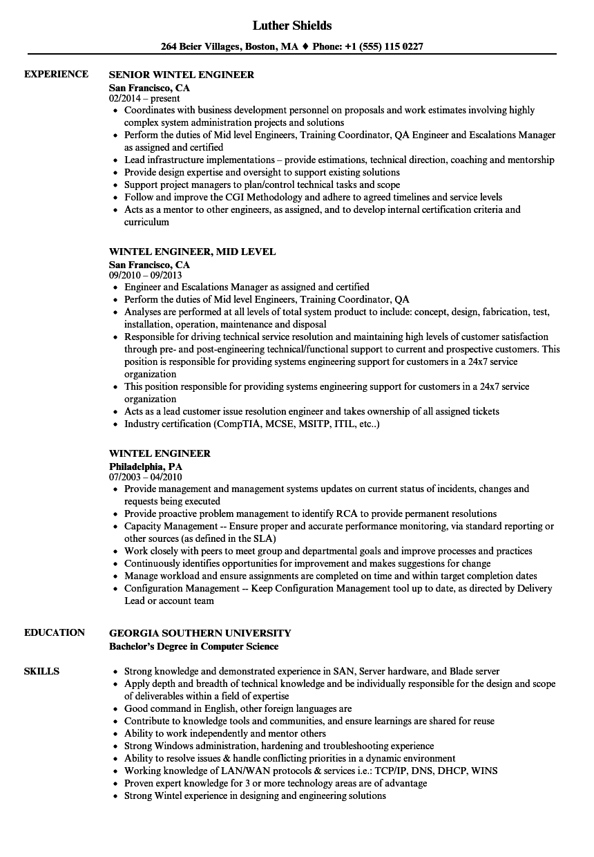 Wintel Engineer Resume Samples | Velvet Jobs