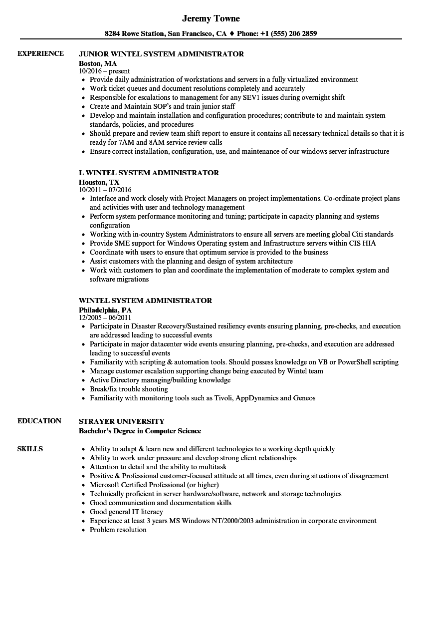 download wintel system administrator resume sample as image file - System Administrator Resume