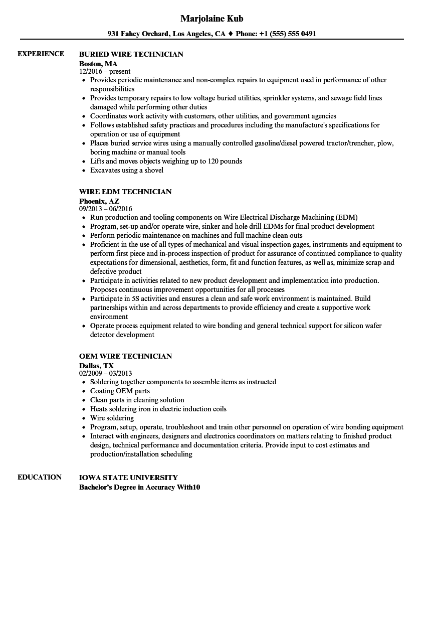 wire technician resume samples