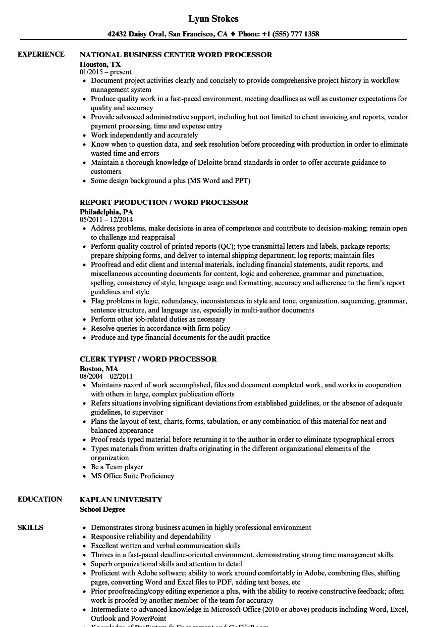 Word Processor Resume Samples | Velvet Jobs