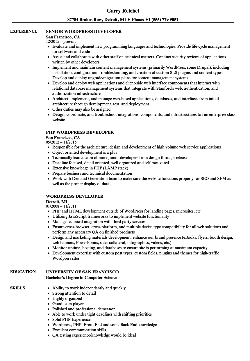 wordpress developer resume samples velvet jobs