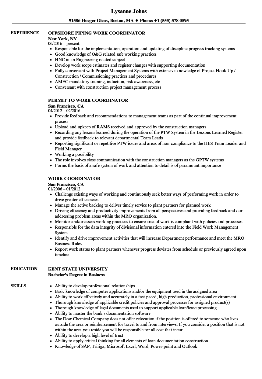 Work Coordinator Resume Samples | Velvet Jobs