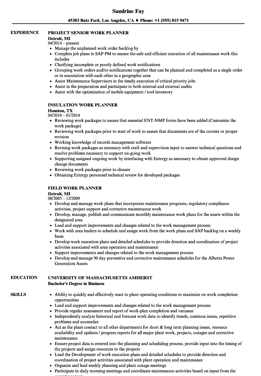 work planner resume samples velvet jobs