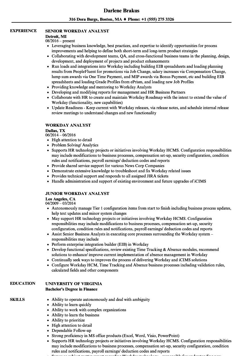 Workday Analyst Resume Samples | Velvet Jobs