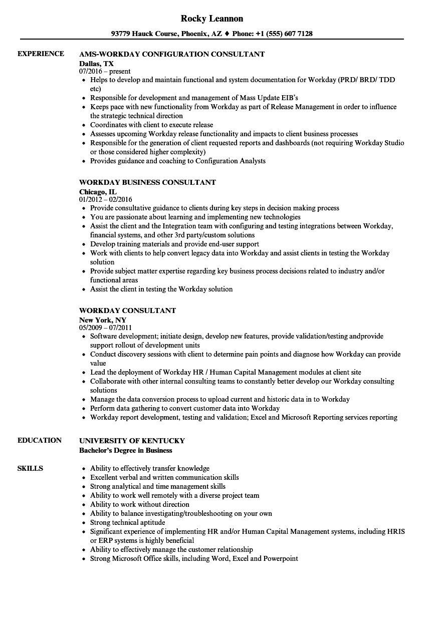 Workday Consultant Resume Samples | Velvet Jobs