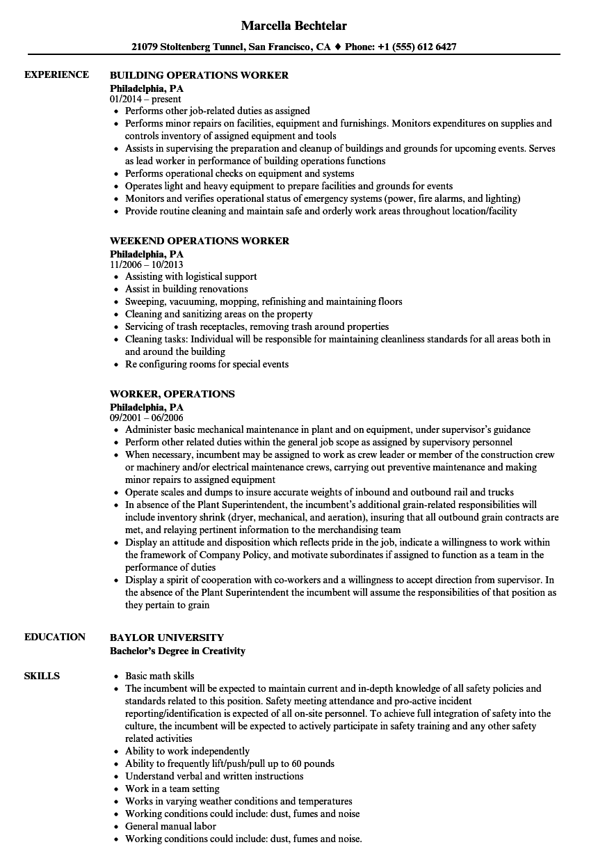 worker  operations resume samples