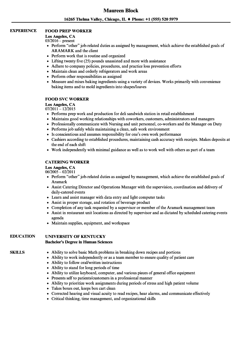 Velvet Jobs  Cafeteria Worker Resume