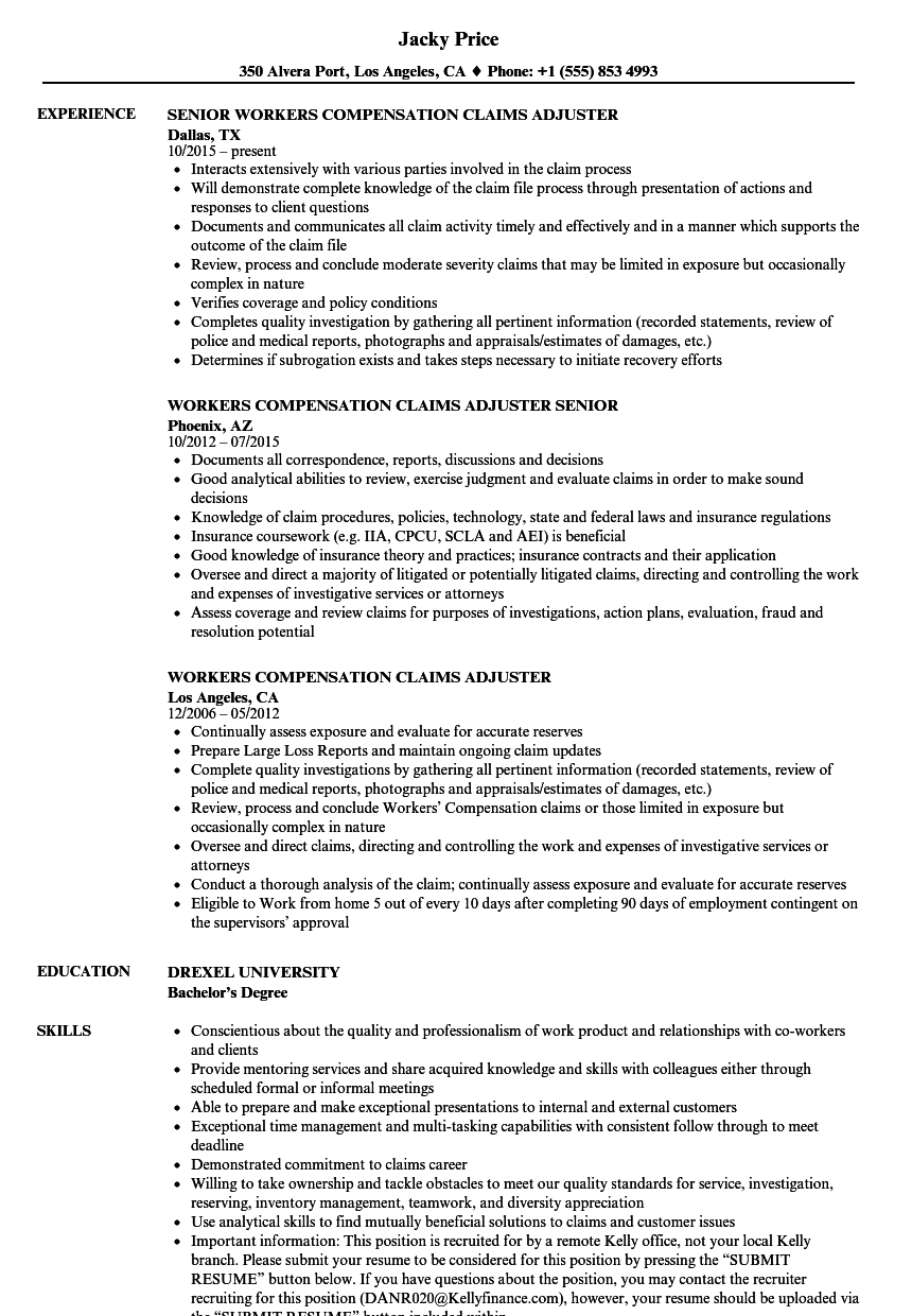 download workers compensation claims adjuster resume sample as image file - Workers Compensation Specialist Sample Resume