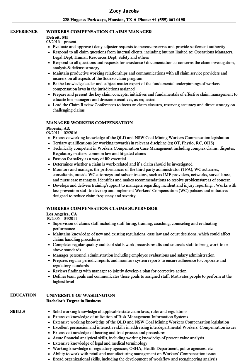 Workers Compensation Resume Samples