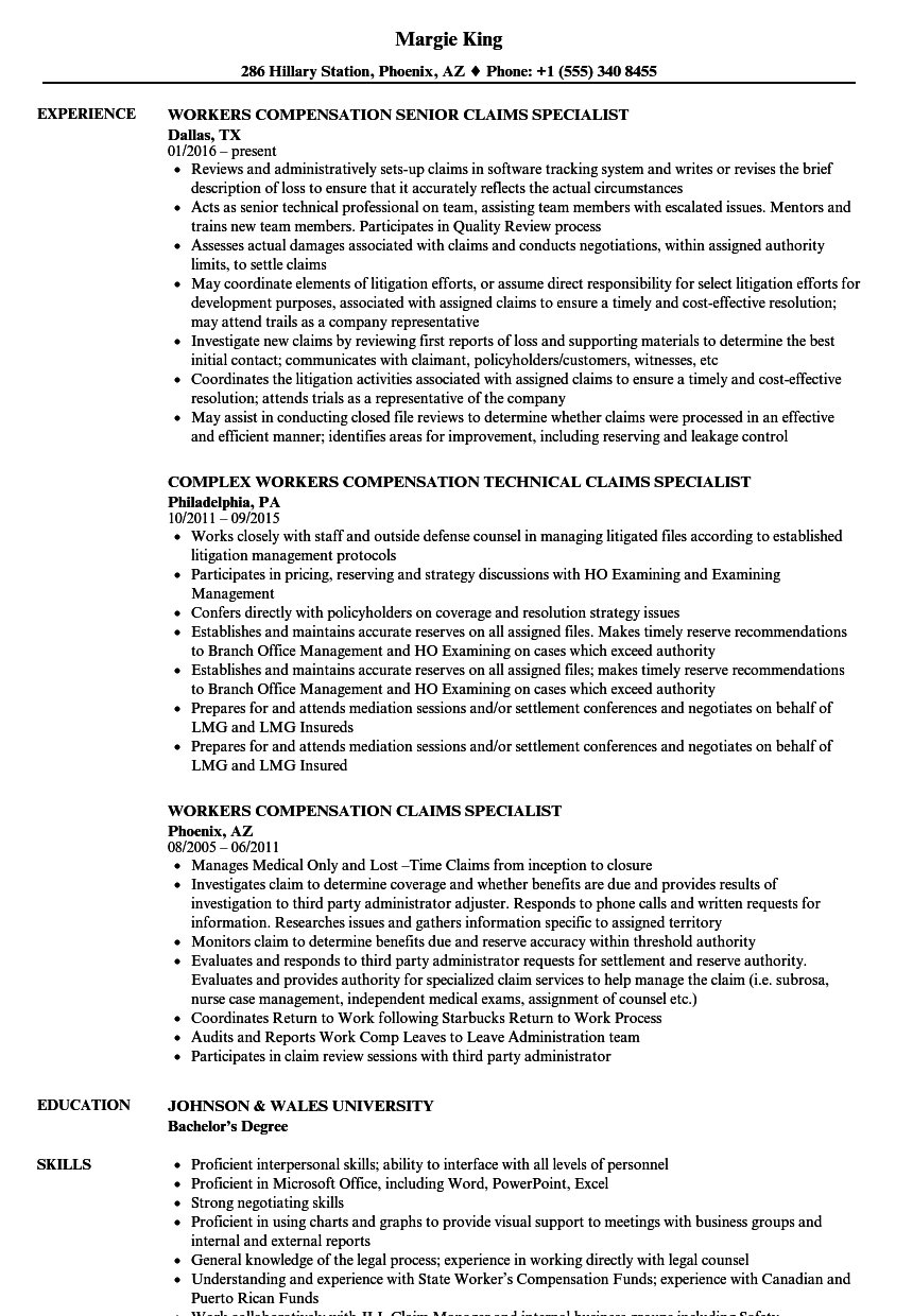 Download Workers Compensation Specialist Resume Sample As Image File