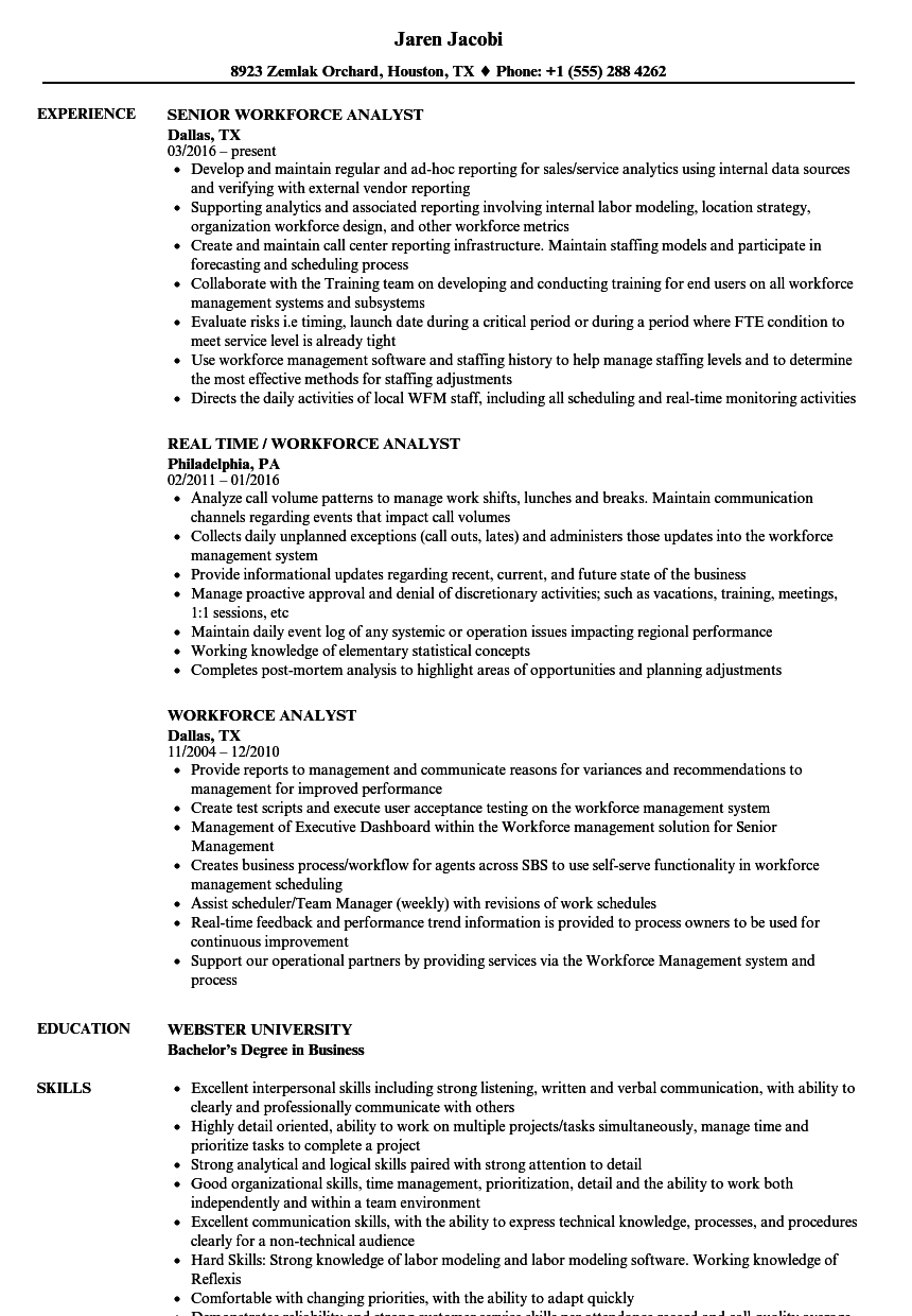 Workforce Analyst Resume Samples | Velvet Jobs