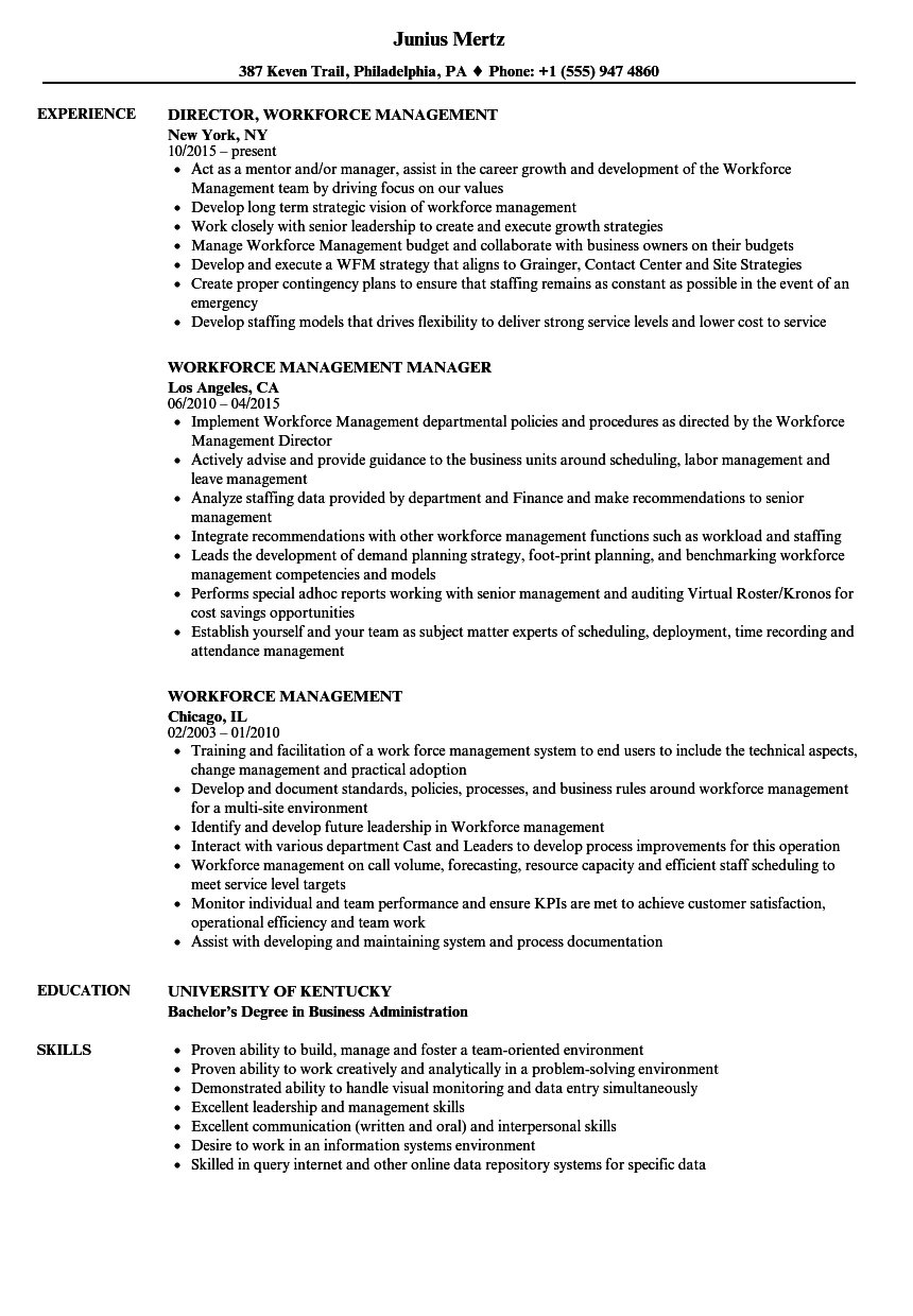 Workforce Management Resume Samples | Velvet Jobs