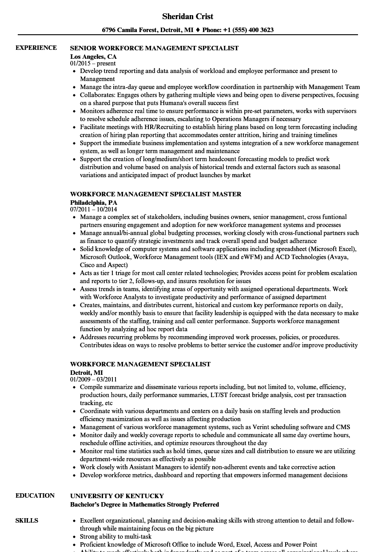 Workforce Management Specialist Resume Samples | Velvet Jobs