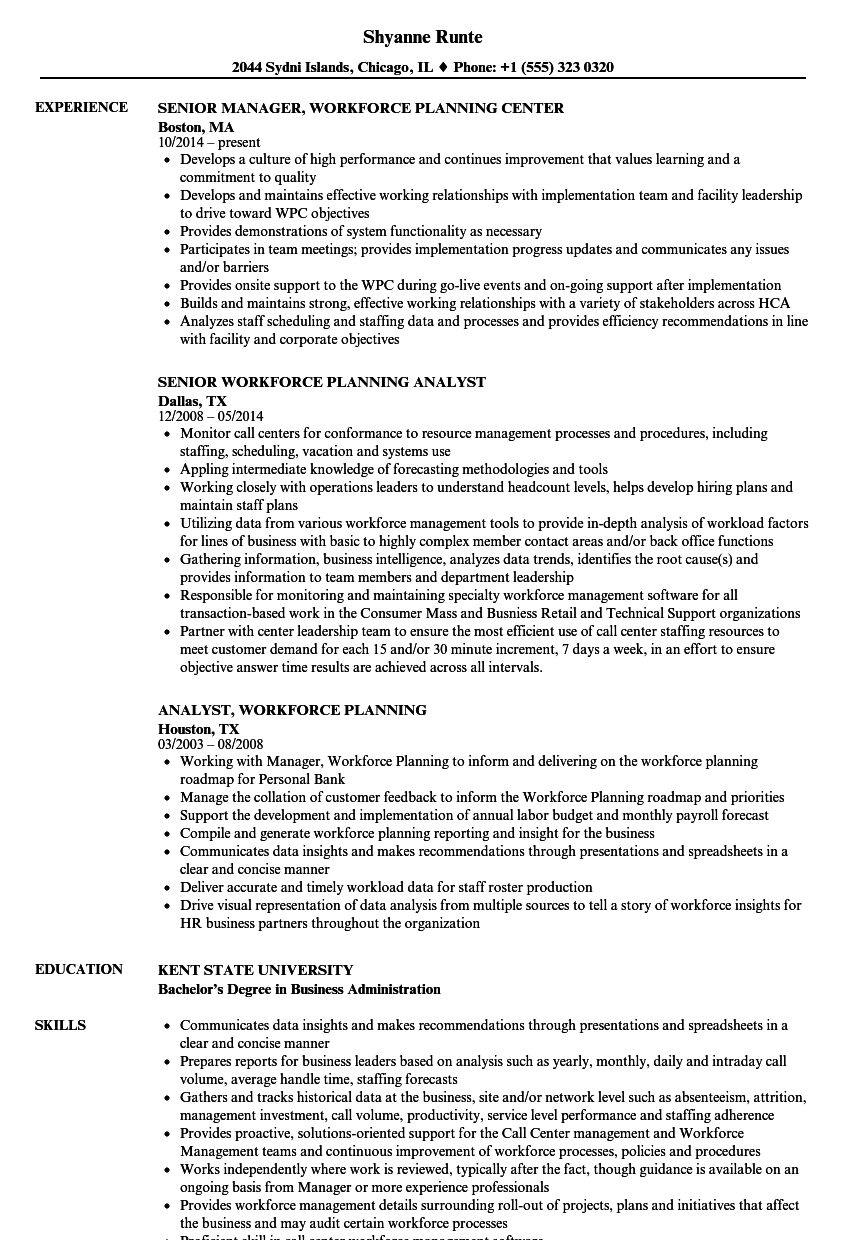 workforce planning resume samples
