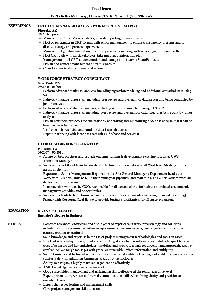 workforce strategy resume samples