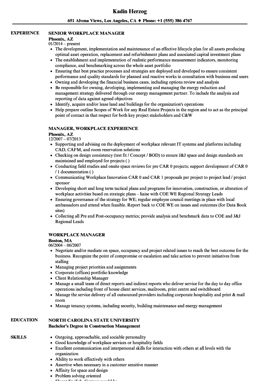 workplace manager resume samples