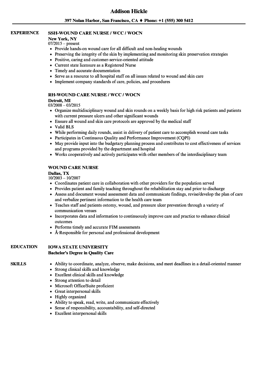 Download Wound Care Nurse Resume Sample As Image File