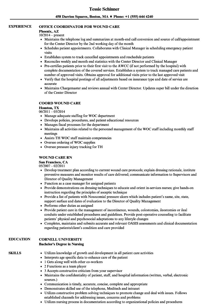 Download Wound Care Resume Sample As Image File
