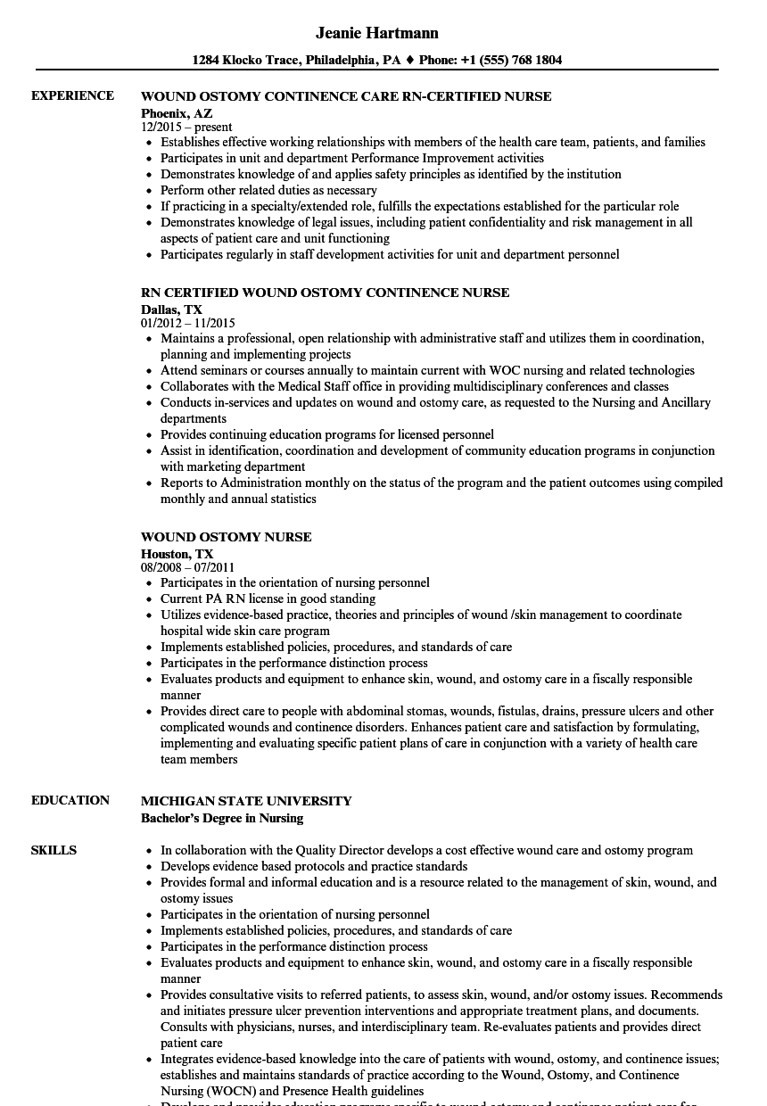 Wound Ostomy Nurse Resume Samples | Velvet Jobs
