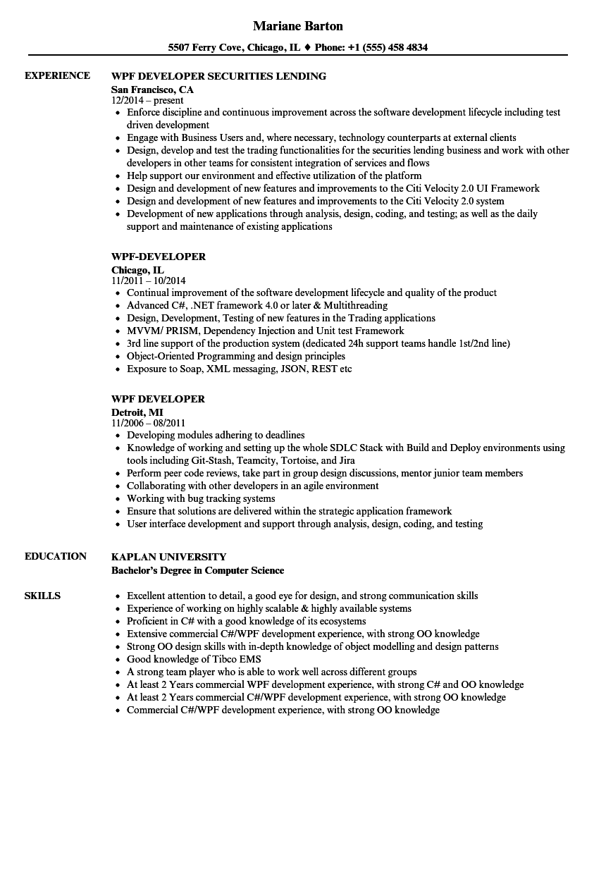 wpf developer resume samples velvet jobs