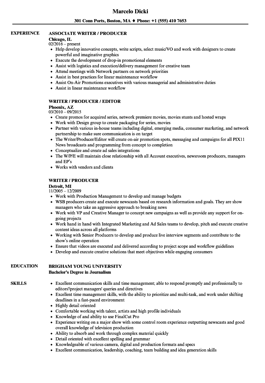 Writer / Producer Resume Samples | Velvet Jobs