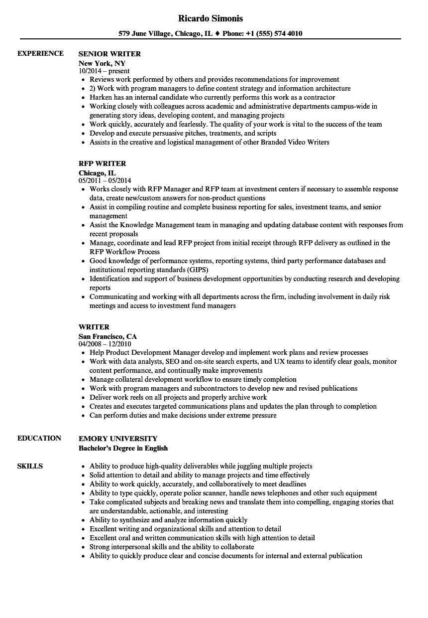Writer Resume Samples Velvet Jobs
