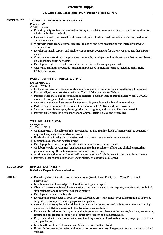 Writer, Technical Resume Samples | Velvet Jobs