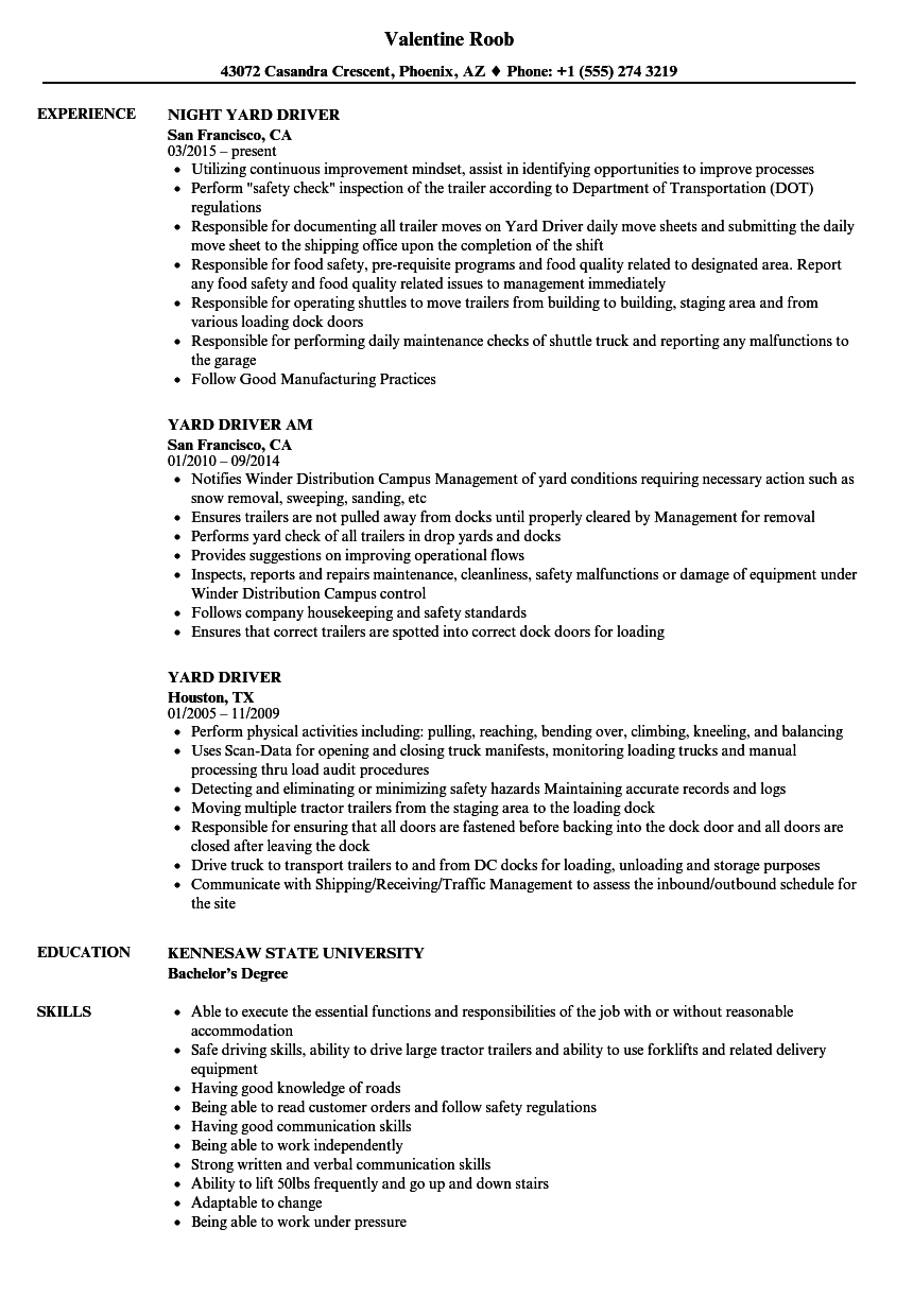 yard driver resume samples