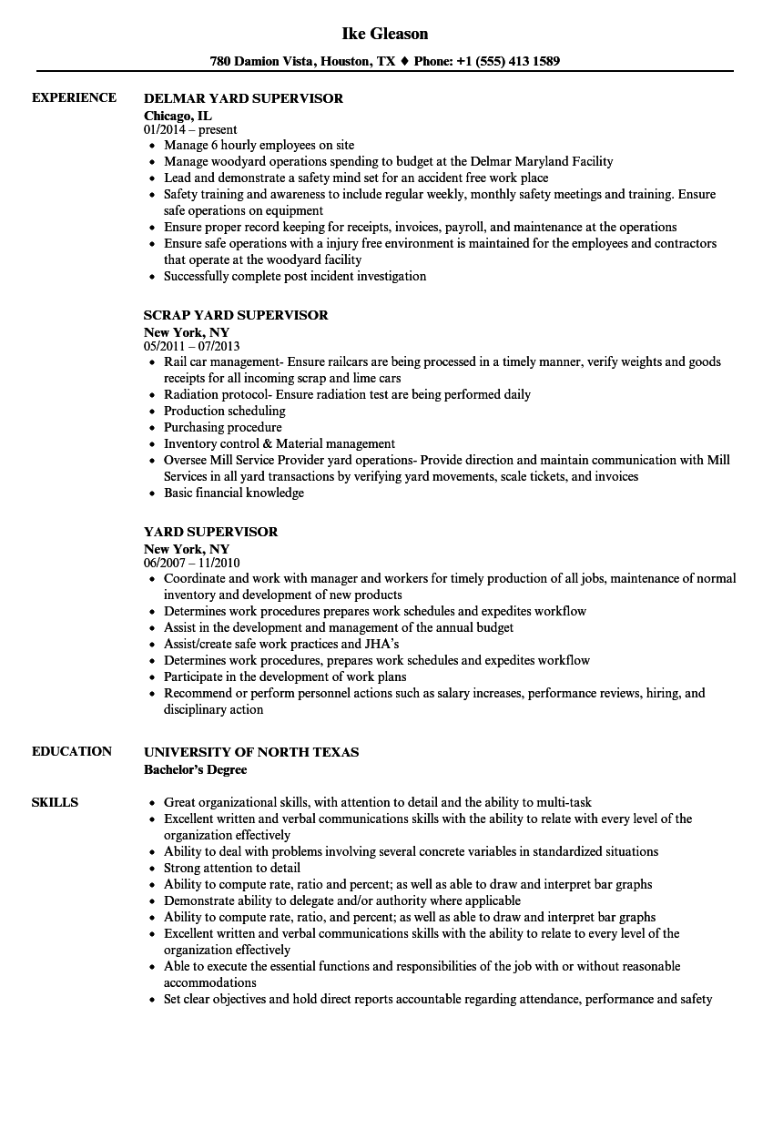 Yard Supervisor Resume Samples