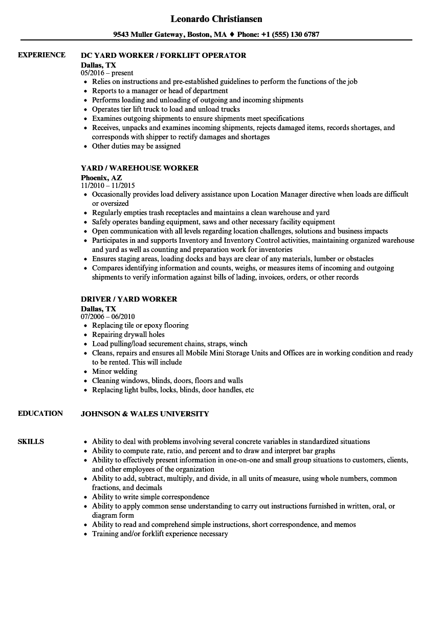 Yard Worker Resume Samples