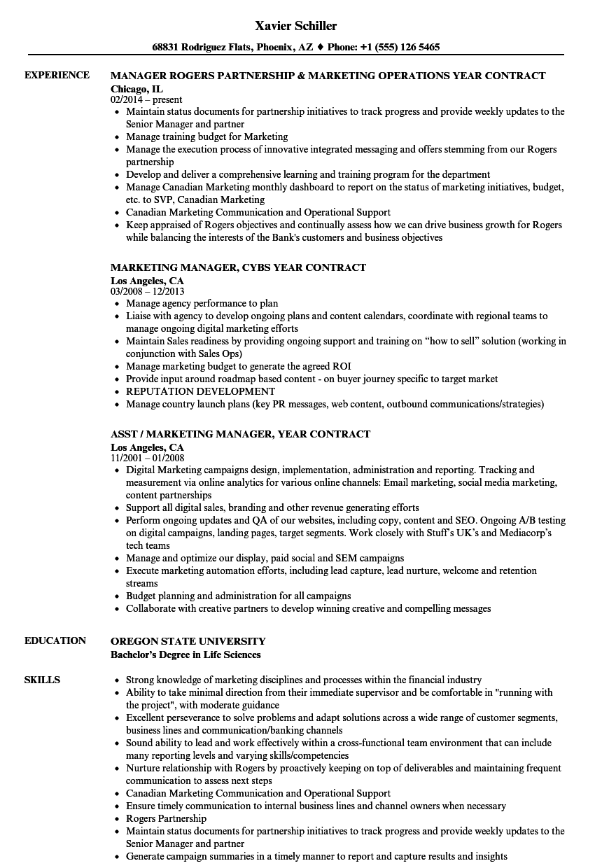 year contract resume samples