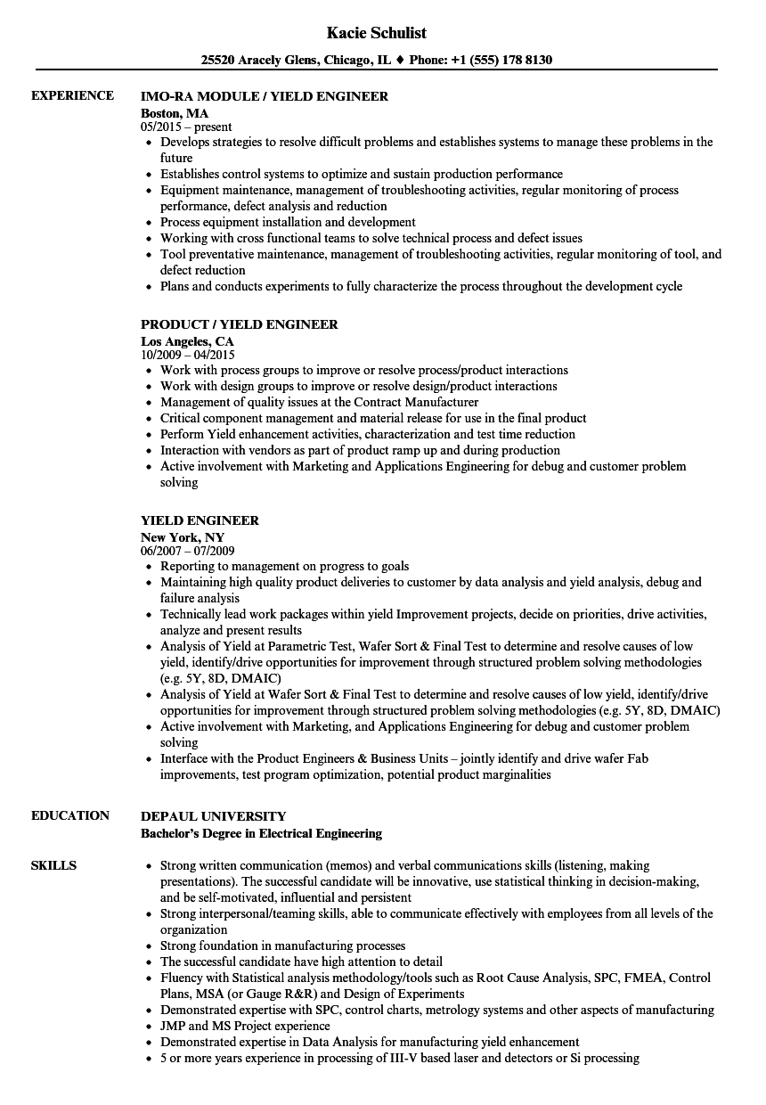yield engineer resume samples