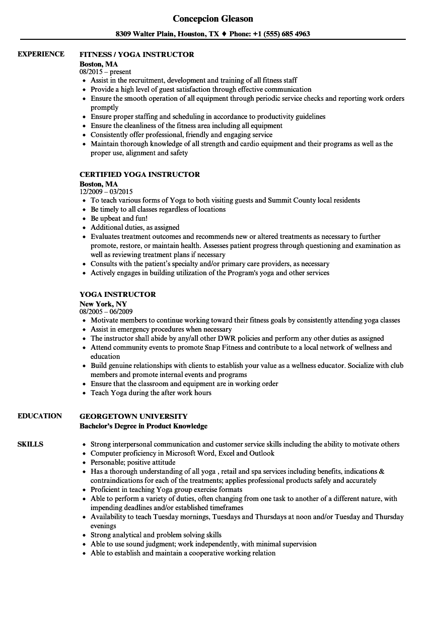 Download Yoga Instructor Resume Sample As Image File