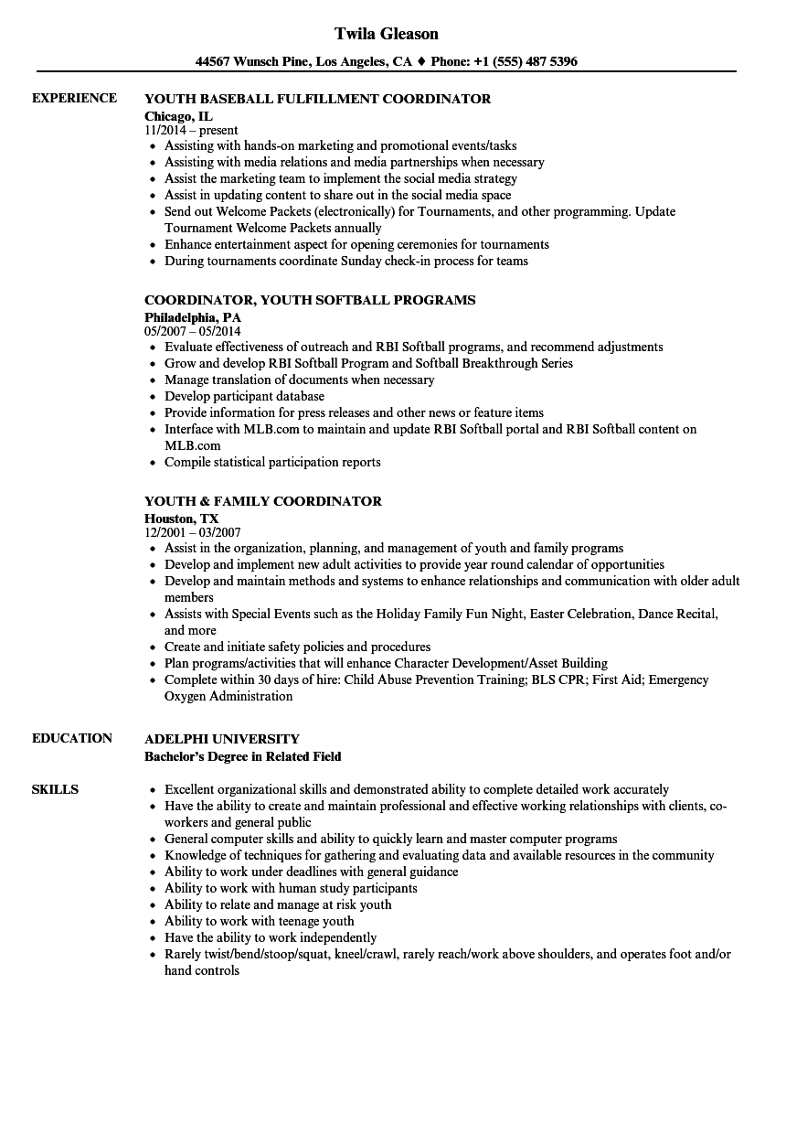Youth Coordinator Resume Samples | Velvet Jobs