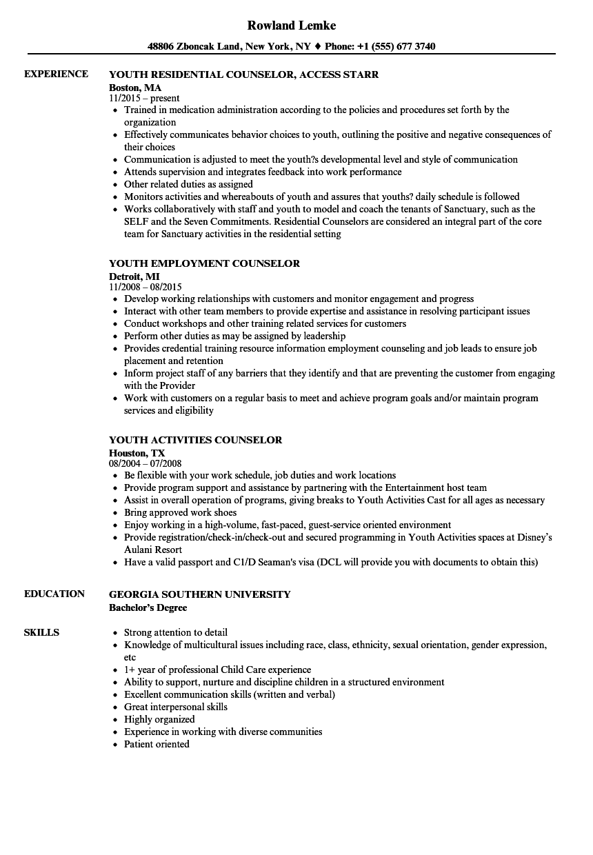 Youth Counselor Resume Samples | Velvet Jobs