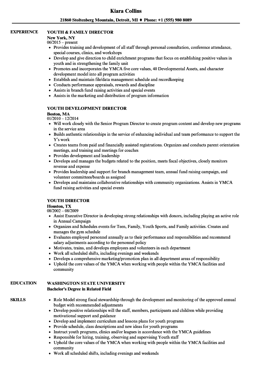youth director resume samples