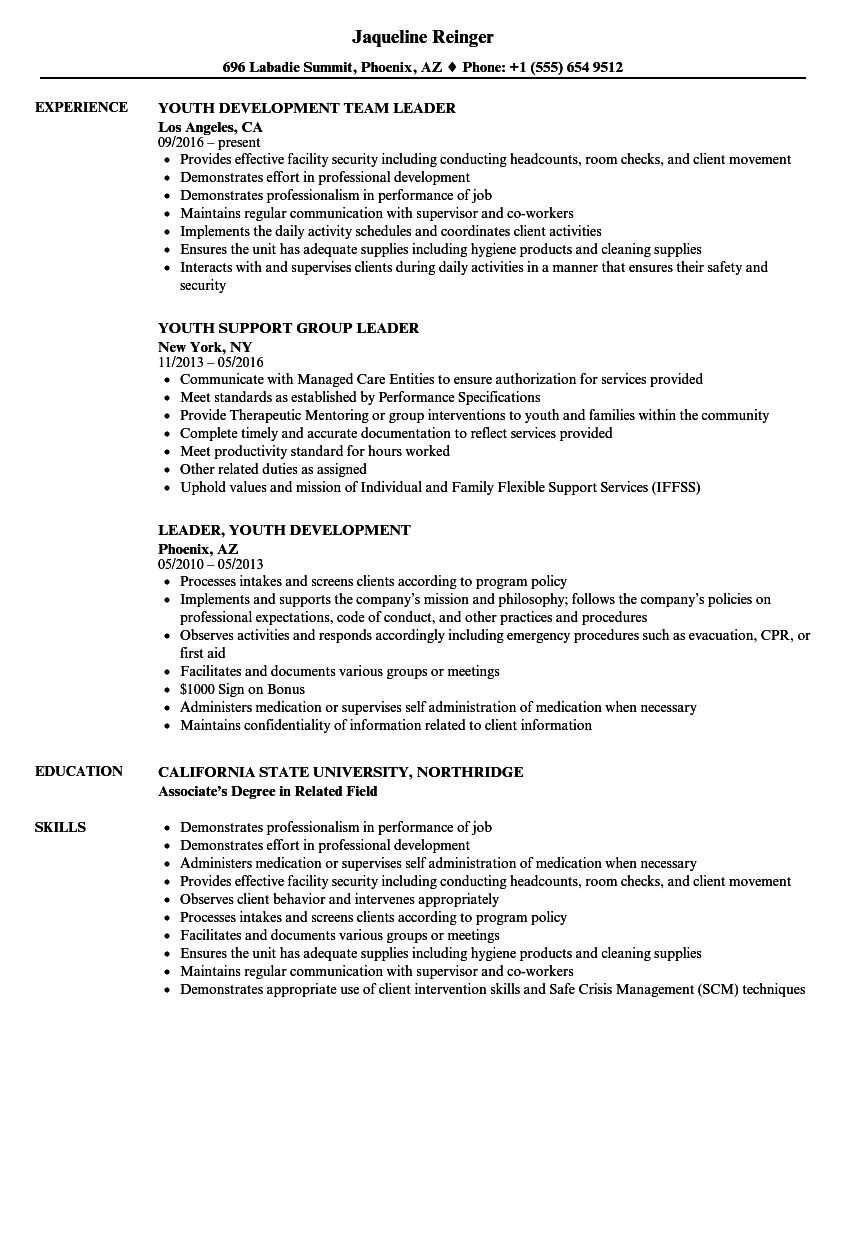 Download Youth Leader Resume Sample As Image File