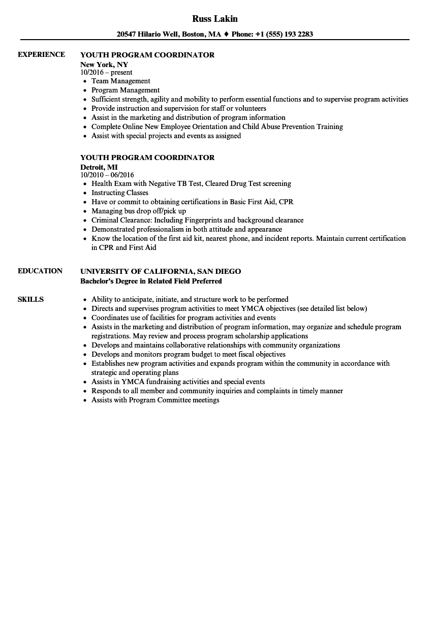 Youth Program Coordinator Resume Samples Velvet Jobs