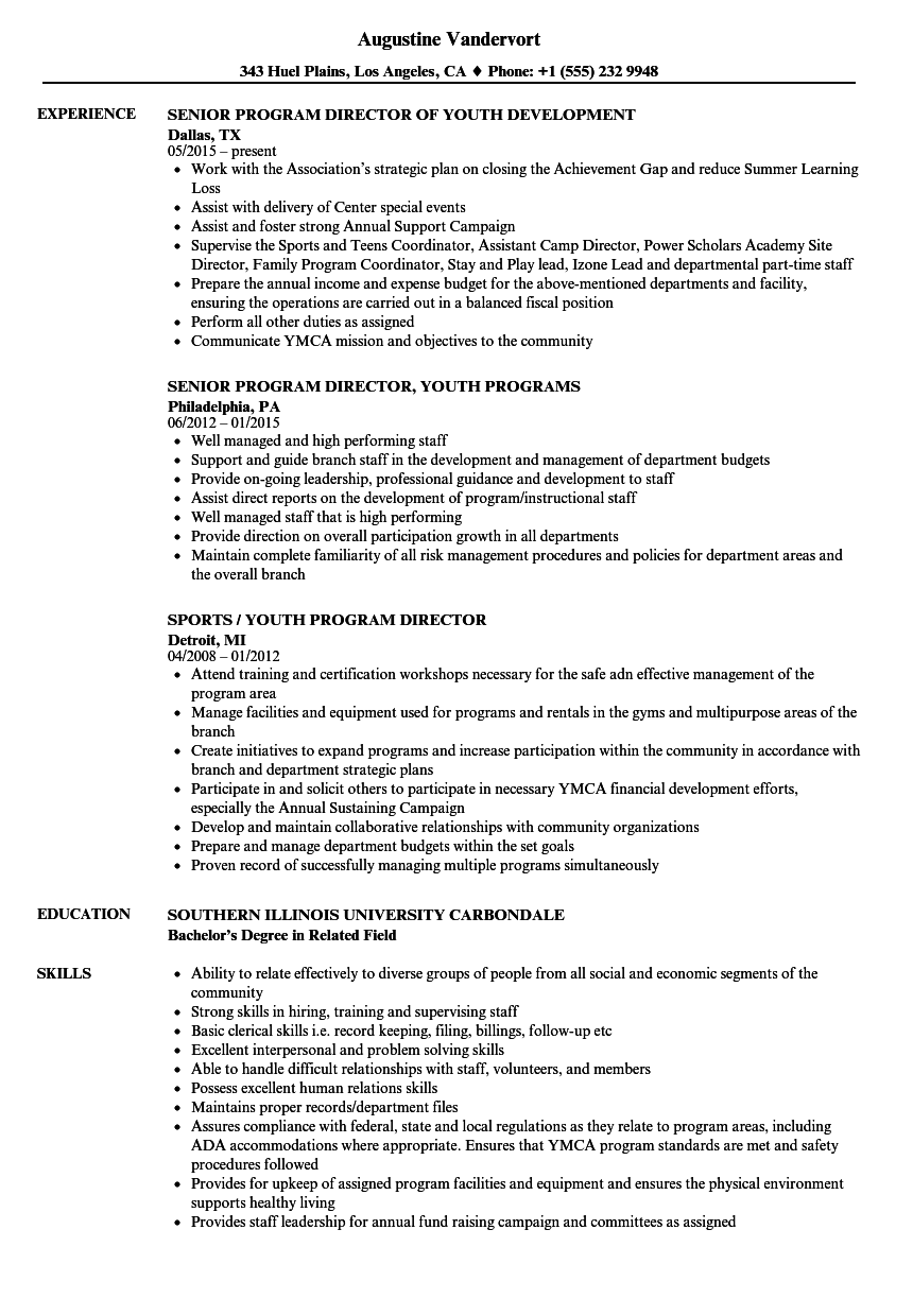 Youth Program Director Resume Samples Velvet Jobs
