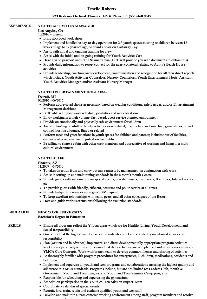 Youth Resume Samples   Velvet Jobs
