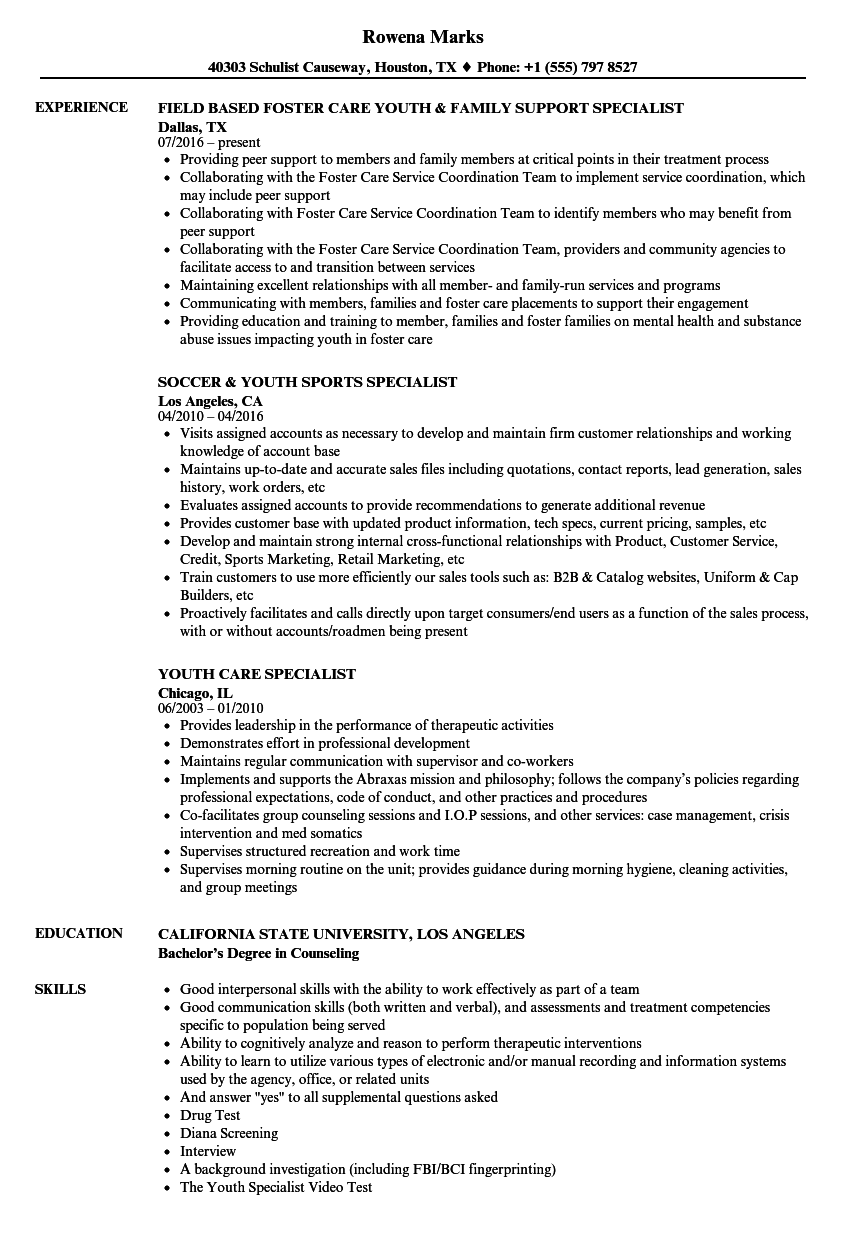 youth specialist resume samples