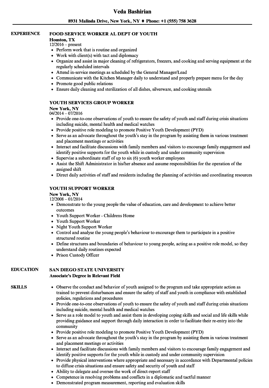 resume Youth Resume Examples youth worker resume samples velvet jobs download sample as image file
