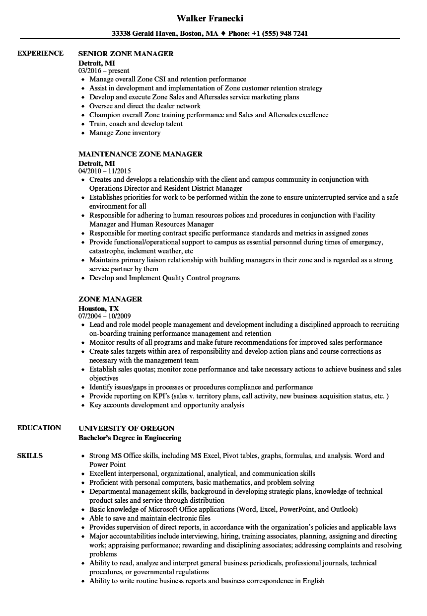 zone manager resume samples