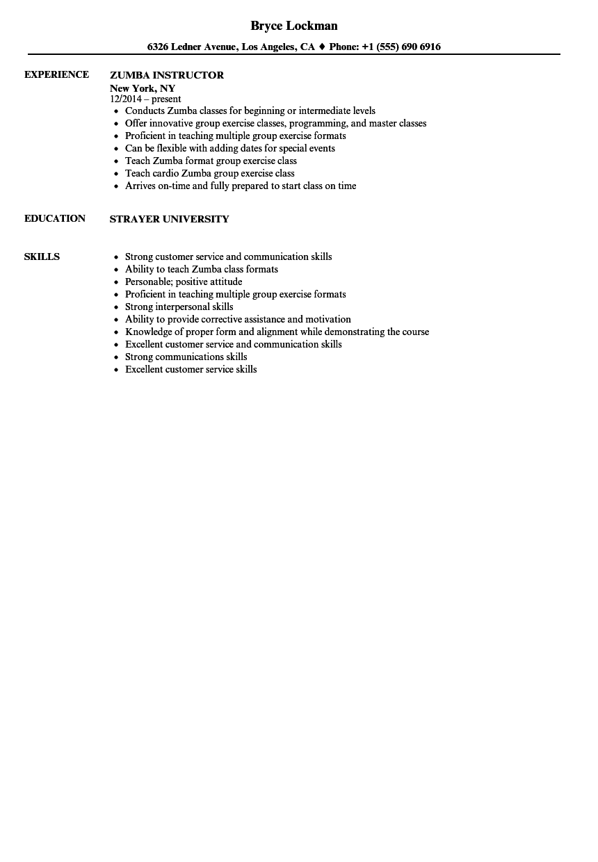 zumba instructor resume samples